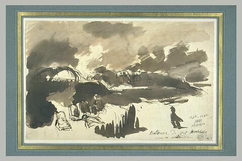Batteries du fort Montebello en action, lors du siège d'Anvers