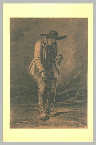 Vieillard auvergnat appuyé sur son bâton