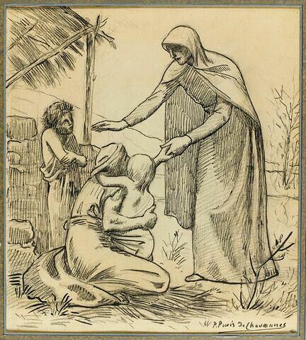 Femme se penchant vers trois miséreux
