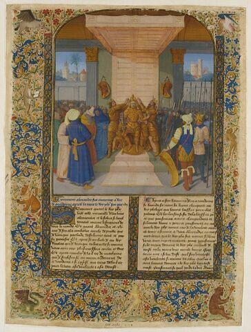Page enluminée : le Couronnement d'Alexandre