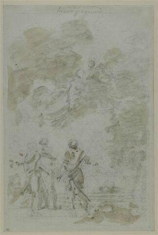 Deux fées convient dans leur jardin Astolphe, Aquilant et Griffon