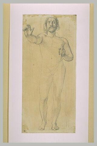 Homme nu debout, le bras droit tendu en avant, un bâton dans la main gauche