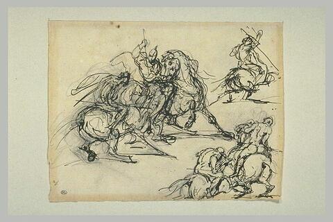 Plusieurs croquis pour : Hercule, les Centaures et les Lapithes