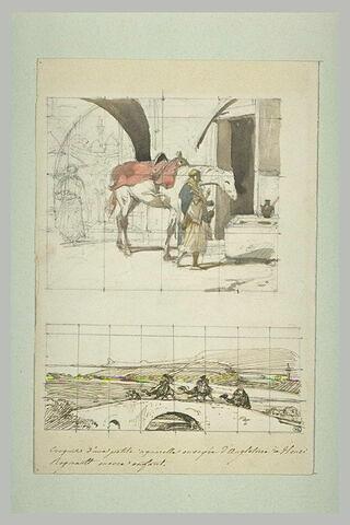 Deux études : un arabe menant boire son cheval et des dromadaires