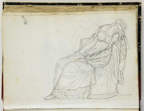 Jeune femme dans un fauteuil, évanouie (?)