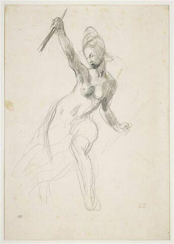 Femme à demi nue, brandissant un bâton
