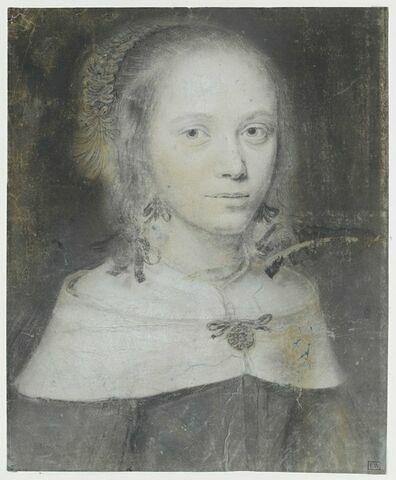 Portrait de femme, en buste, avec une collerette blanche