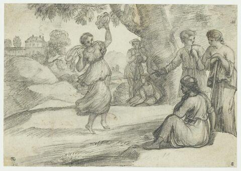 Musicienne dansant et jouant de la flûte devant deux bergers