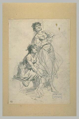 Etude de deux femmes riant, l'une assise et l'autre debout