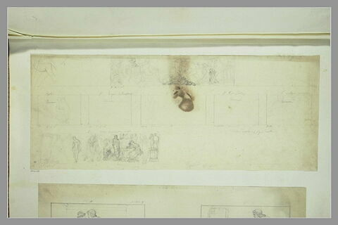 Etudes des peintures en grisaille de la salle IV du musée Charles X
