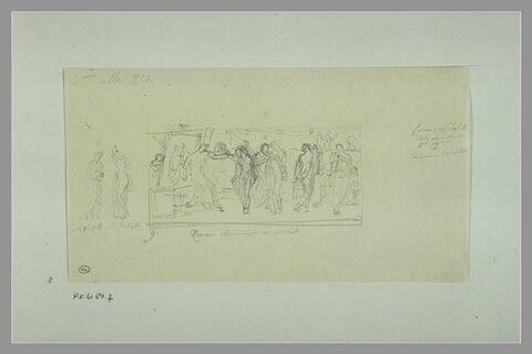 Etudes d'une peinture en grisaille de la salle IV du musée Charles X