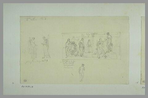 Etudes de peintures en grisaille de la salle IV du musée Charles X