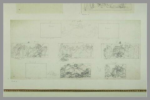 Etudes des peintures en grisaille de la salle VII du musée Charles X