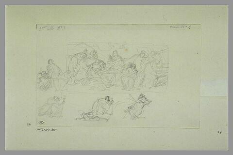 Etudes de peintures en grisaille de la salle VII du musée Charles X