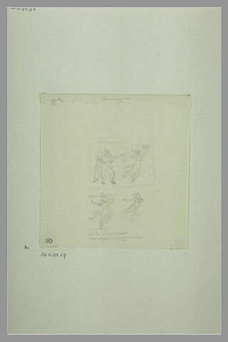 Etudes d'une peinture en grisaille de la salle VIII du musée Charles X
