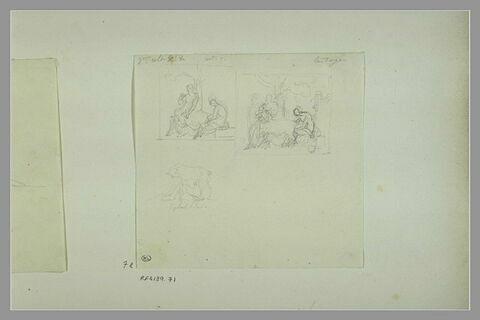 Etudes de peintures en grisaille de la salle VIII du musée Charles X