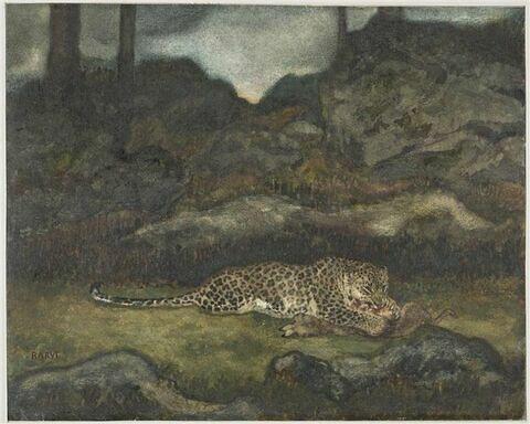 Panthère dévorant une gazelle