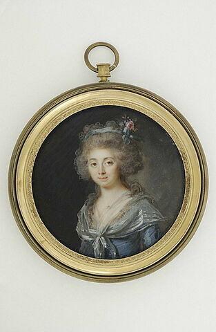 Portrait de dame en robe bleue-violette