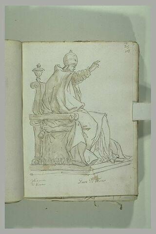 Le Pape Urbain VIII assis, le bras droit levé, vu tourné vers la droite