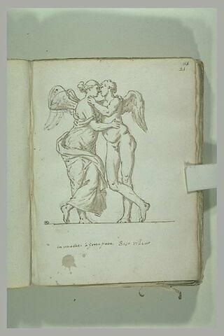 Eros et Psyché, vus face à face, enlacés, les jambes croisées
