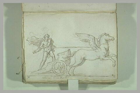 Homme d'emparant d'un char tiré par un cheval ailé