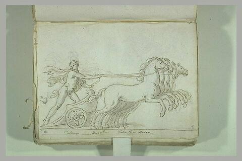 Homme d'emparant d'un char tiré par quatre chevaux