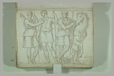Deux jeunes gens, le premier armé d'un carquois et d'une lance,...