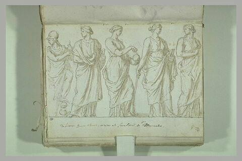 Fragment de bas-relief : Minerve et quatre Muses