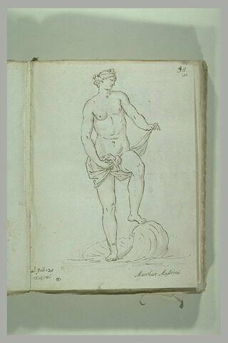 Femme nue retenant une draperie autour de ses reins, debout sur une coquille