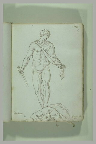 Homme nu tenant un glaive et posant le pied gauche sur un corps allongé