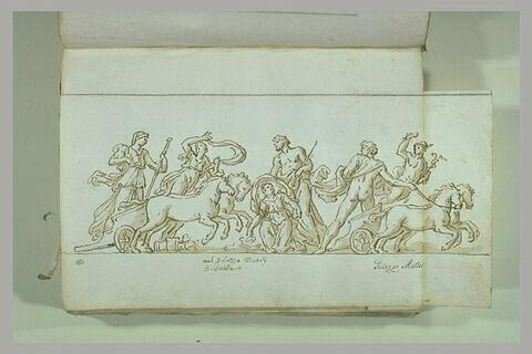 Enlèvement de Proserpine, cortège de deux chars menés par Mercure...