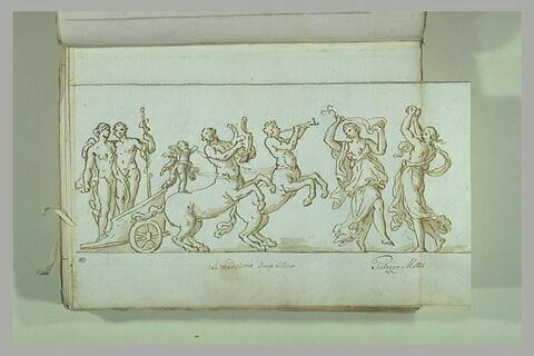 Cortège bachique avec Bacchus et Ariane (?) dans un char tiré...
