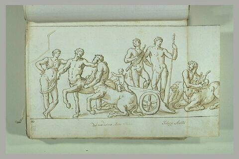 Cortège Bachique : le char de Bacchus arrêté