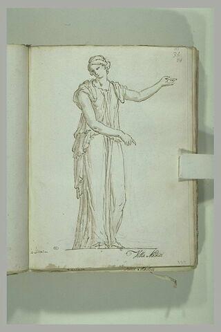 Jeune femme drapée, un bras levé tendu vers la droite