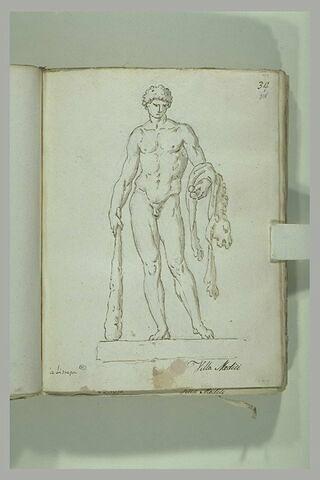Hercule nu, imberbe, appuyé sur sa massue, tenant les pommes...
