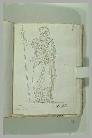 Femme drapée et casquée, appuyée sur une lance ; Minerve