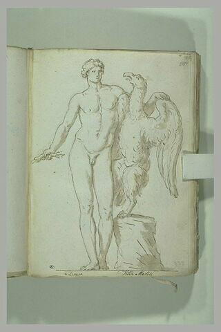 Ganymède vu de face avec Jupiter, sous la forme d'un aigle