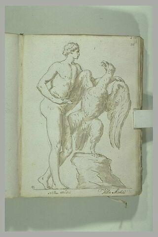 Ganymède, vu de profil et Jupiter, sous la forme d'un aigle vu de face