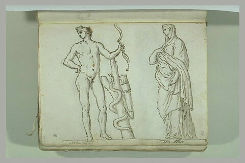 Deux statues : Apollon Saurochtone et une Sabine