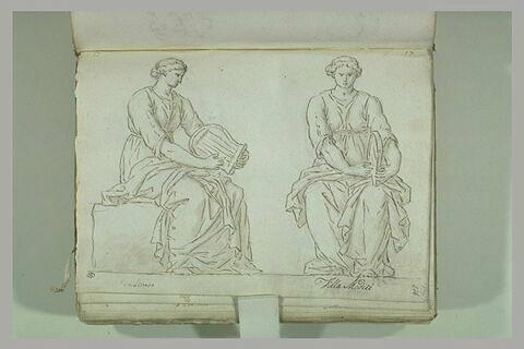 Une femme assise tenant une lyre, dessinée sous deux angles différents