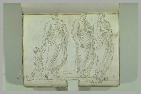 Trois figures d'hommes drapés, celui de gauche tenant un enfant par la main