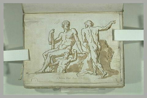 Groupe de trois figures près de rochers