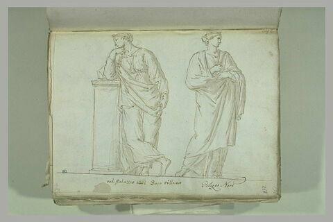 Deux femmes debout, drapées, celle de gauche accoudée à un socle haut