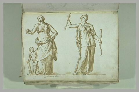 Deux femmes drapées, debout, celle de gauche avec un enfant nu à son côté...