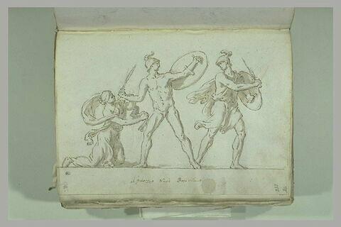 Deux hommes combattant, casqués, armés d'une épée et d'un bouclier,...