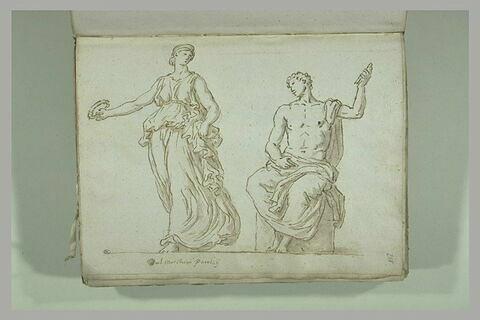 Femme debout tenant une couronne dans la main droite et homme assis, ...