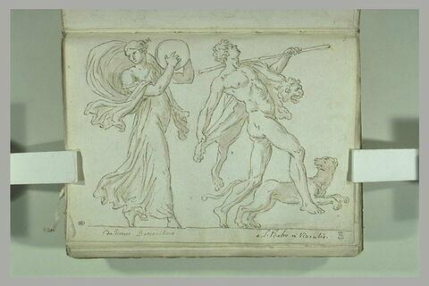Une ménade et satyre dansant accompagnés d'une panthère