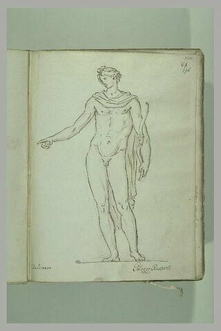 Jeune homme debout, nu, une draperie sur les épaules, ... ; Apollon