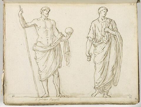 Un homme debout à demi drapé, vu de face et à droite un homme debout vêtu...