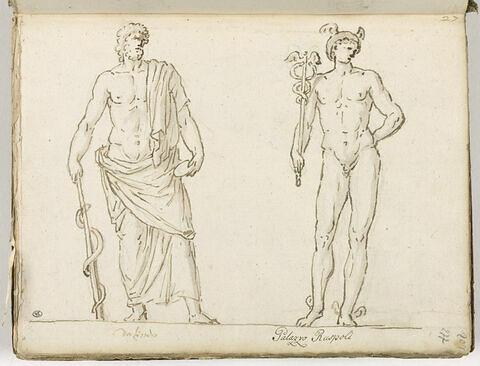 Esculape à gauche, et Mercure, à droite